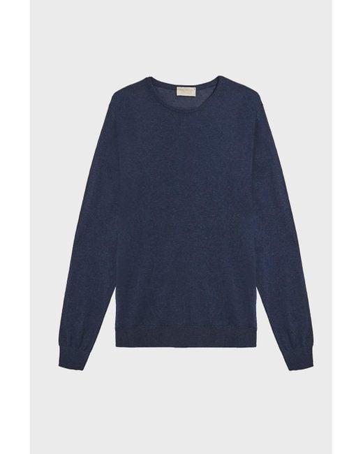 John Smedley - Theon Cotton And Cashmere-blend Jumper, Size L, Men, Blue for Men - Lyst