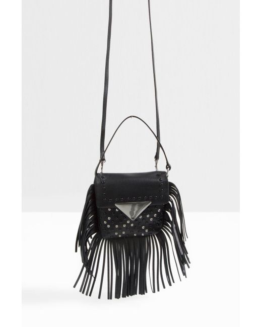 Sara Battaglia | Black Mini Stud Fringed Cross Body Bag | Lyst