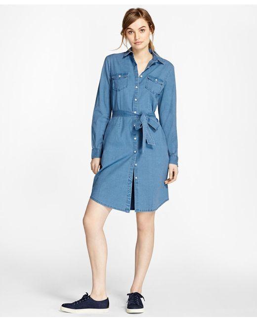 Brooks Brothers - Blue Cotton Chambray Shirt Dress - Lyst