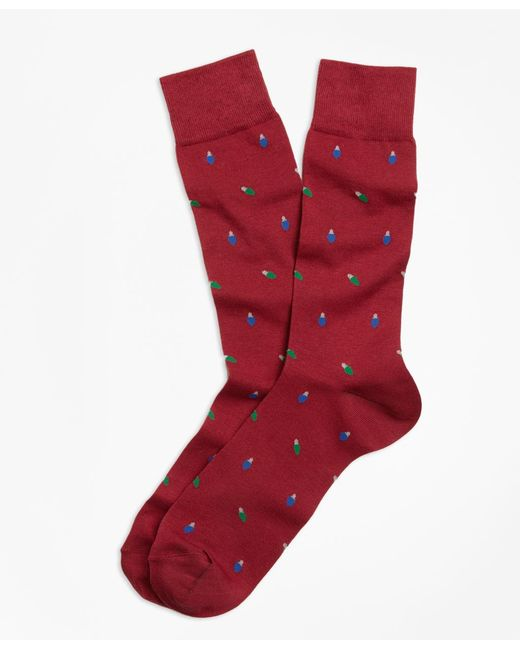 Brooks Brothers - Red Holiday Light-patterned Socks for Men - Lyst