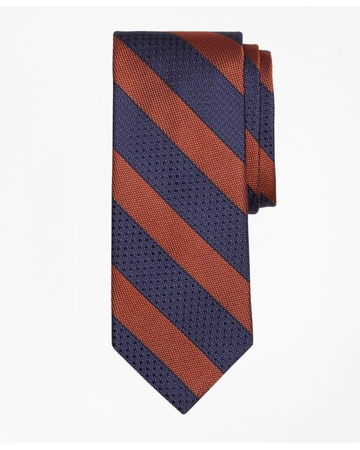 Brooks Brothers - Orange Textured Framed Stripe Tie for Men - Lyst