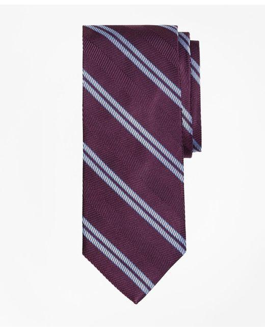 Brooks Brothers | Purple Herringbone Double Stripe Tie for Men | Lyst