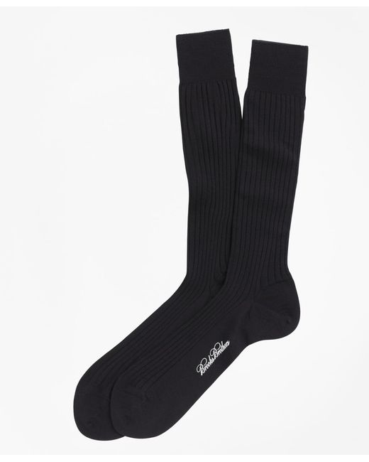 Brooks Brothers | Blue Merino Wool Ribbed Crew Socks for Men | Lyst