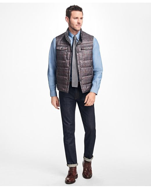 Brooks Brothers | Gray Reversible Plaid Down Vest for Men | Lyst