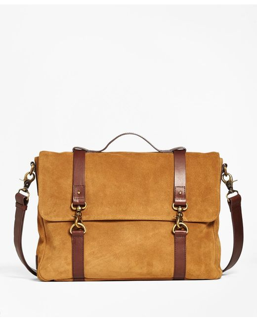 Brooks Brothers | Brown Suede Convertible Brief/messenger Bag for Men | Lyst