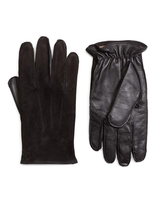 Brooks Brothers | Black Leather And Suede Touch Screen Gloves for Men | Lyst