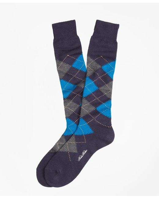 Brooks Brothers | Blue Argyle Over-the-calf Socks for Men | Lyst