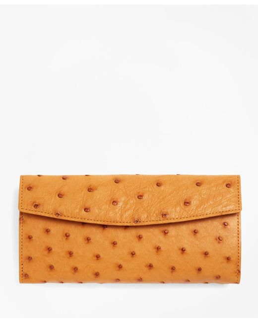 Brooks Brothers - Natural Ostrich Wallet - Lyst
