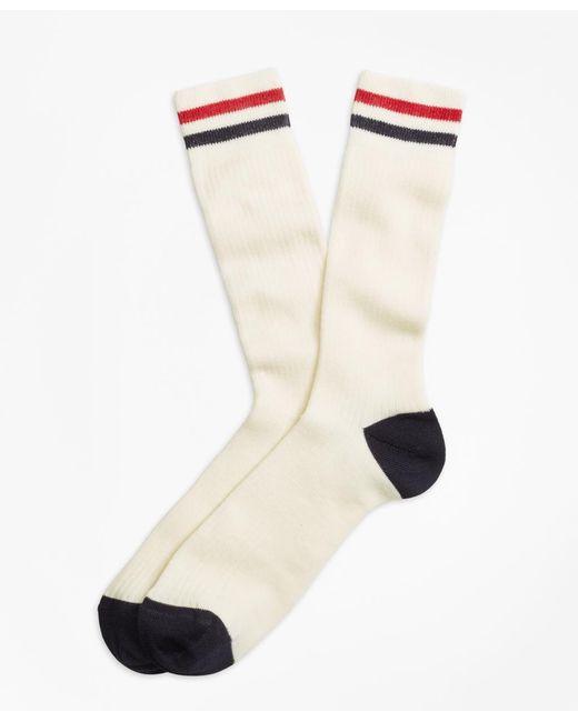 Brooks Brothers | Gray Kennedy Stripe Crew Socks for Men | Lyst