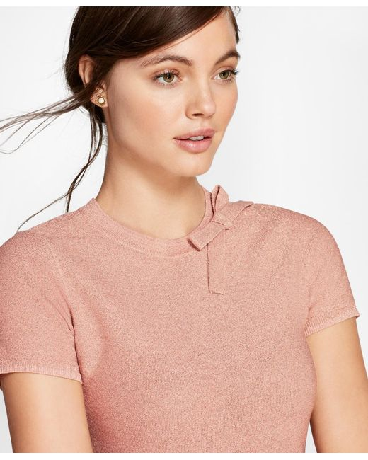 Brooks Brothers - Pink Shimmer-knit Short-sleeve Sweater - Lyst