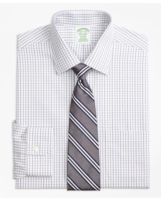 Brooks Brothers - Gray Milano Slim-fit Dress Shirt, Non-iron Tonal Check Windowpane for Men - Lyst