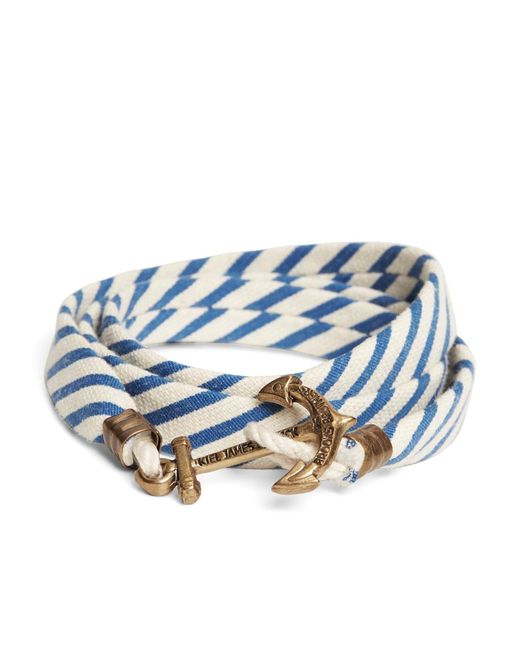Brooks Brothers - Kiel James Patrick Blue And White Seersucker Lanyard Hitch Cord Bracelet for Men - Lyst