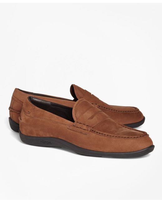 Brooks Brothers - Brown 1818 Footwear Suede Penny Moccasins for Men - Lyst