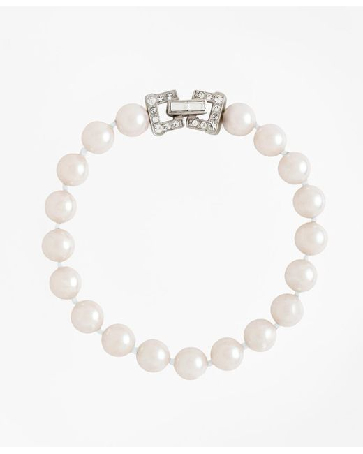 "Brooks Brothers - White 7.5"" 8mm Glass Pearl Bracelet With Deco Clasp - Lyst"