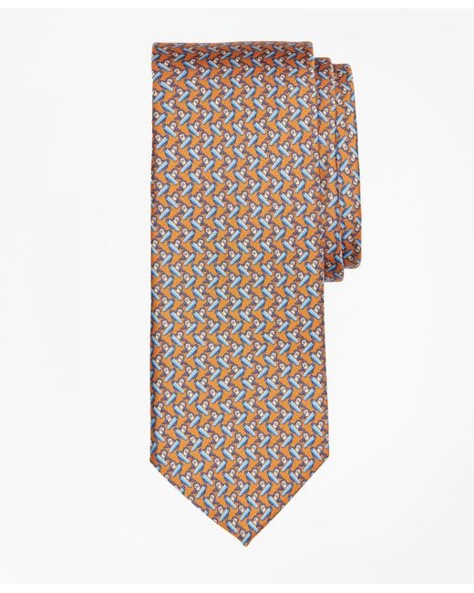Brooks Brothers - Orange Snowboarding Penguin Print Tie for Men - Lyst
