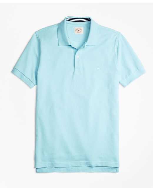 Brooks Brothers - Blue Solid Pique Polo Shirt for Men - Lyst