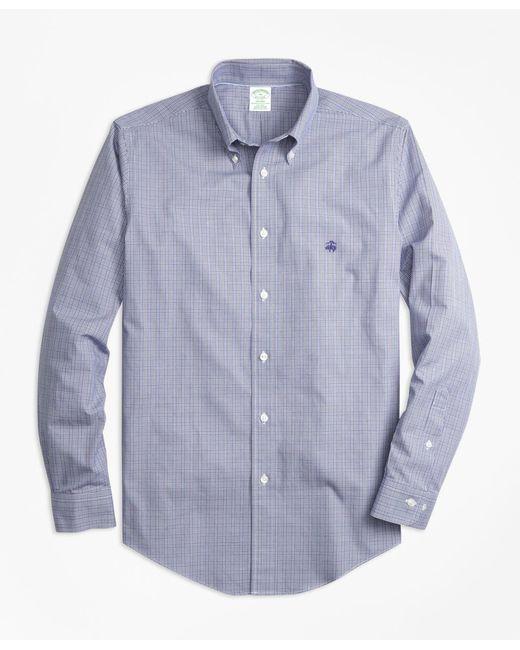 Brooks Brothers - Blue Non-iron Milano Fit Mini Plaid Sport Shirt for Men - Lyst