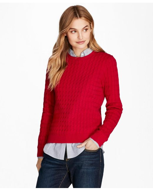 Brooks Brothers - Red Cable-knit Cotton-cashmere Sweater - Lyst
