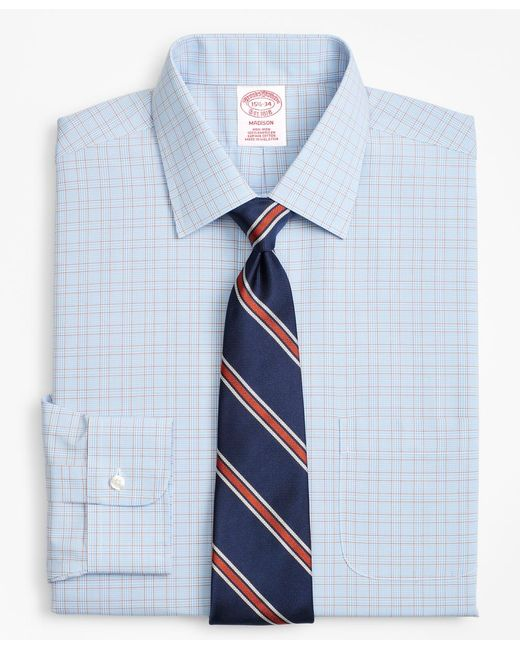 Brooks Brothers - Blue Traditional Relaxed-fit Dress Shirt, Non-iron Plaid Framed Overcheck for Men - Lyst