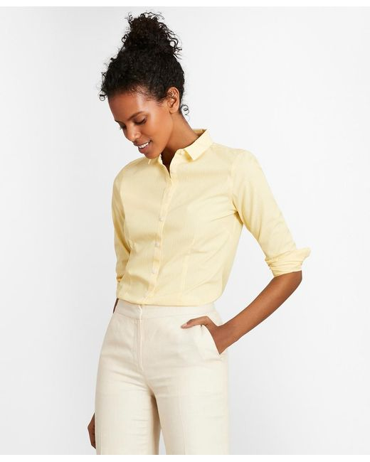 143ce2ea7466e Brooks Brothers - Yellow Non-iron Tailored-fit Striped Stretch-cotton  Poplin Shirt ...