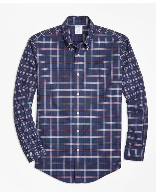 Brooks Brothers   Blue Non-iron Regent Fit Windowpane Sport Shirt for Men   Lyst