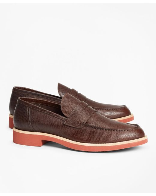 Brooks Brothers - Brown Textured Leather Penny Loafer for Men - Lyst