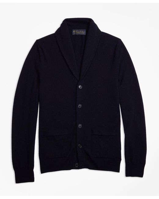 Brooks Brothers - Blue Two-ply Cashmere Shawl Collar Cardigan for Men - Lyst