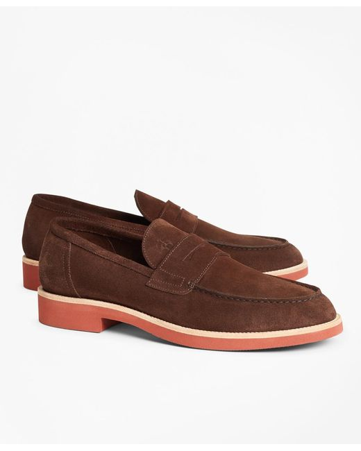 Brooks Brothers - Brown Suede Penny Loafer for Men - Lyst