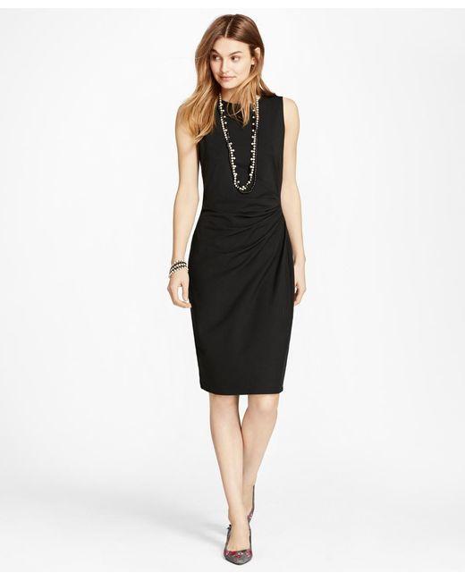 Brooks Brothers | Black Ruched Ponte Sheath Dress | Lyst