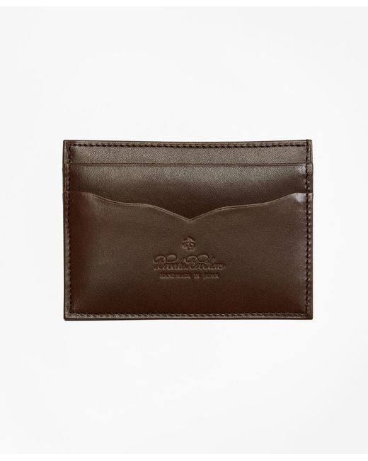 Brooks Brothers - Brown Saffiano Leather Card Case for Men - Lyst