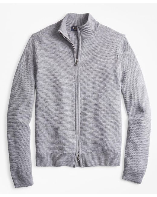 Brooks Brothers - Gray Honeycomb Stitch Full-zip Cardigan for Men - Lyst