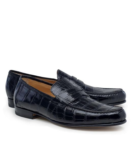 Brooks Brothers | Black Alligator Penny Loafers for Men | Lyst