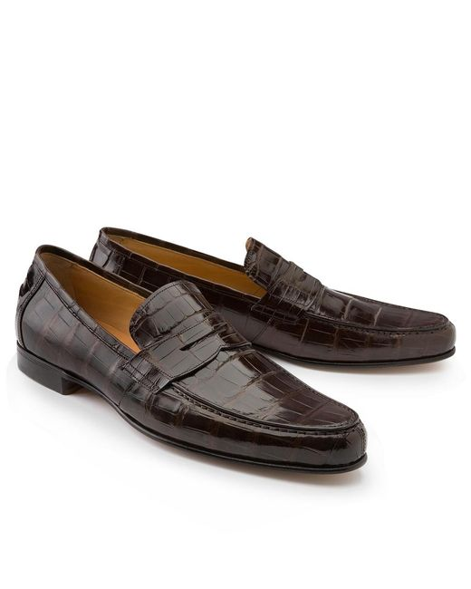 Brooks Brothers | Brown Alligator Penny Loafers for Men | Lyst