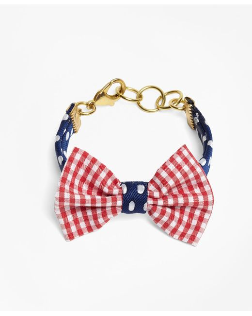 Brooks Brothers - Blue Kiel James Patrick Gingham And Polka Dot Bow Tie Bracelet - Lyst