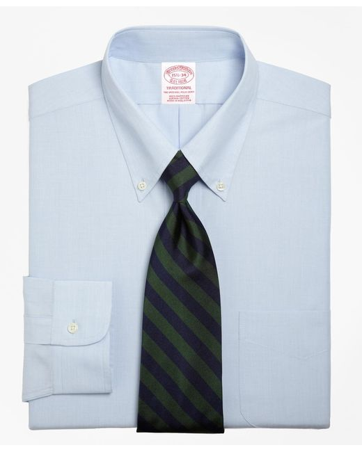 Brooks Brothers - Blue Traditional Fit Button-down Collar Dress Shirt for Men - Lyst