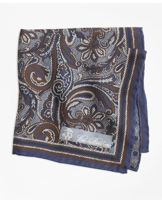 Brooks Brothers - Gray Paisley And Dot Pocket Square for Men - Lyst
