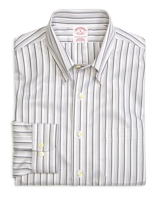 Brooks Brothers - Gray Supima® Cotton Non-iron Regular Fit Tonal Stripe Twill Sport Shirt for Men - Lyst