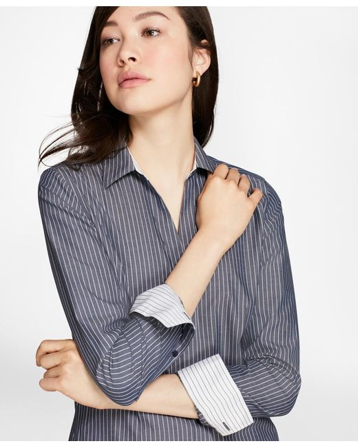 Brooks Brothers | Blue Petite Fitted Non-iron Striped Cotton Poplin Shirt | Lyst