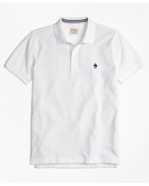 Brooks Brothers - White Solid Pique Polo Shirt for Men - Lyst