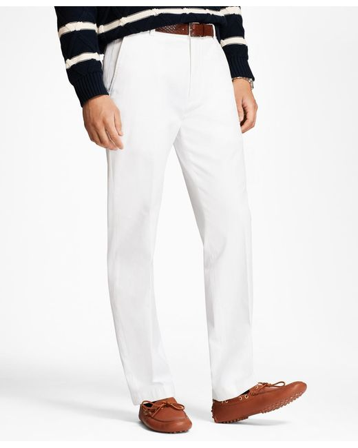 Brooks Brothers - White Clark Fit Supima® Cotton Stretch Chinos for Men - Lyst
