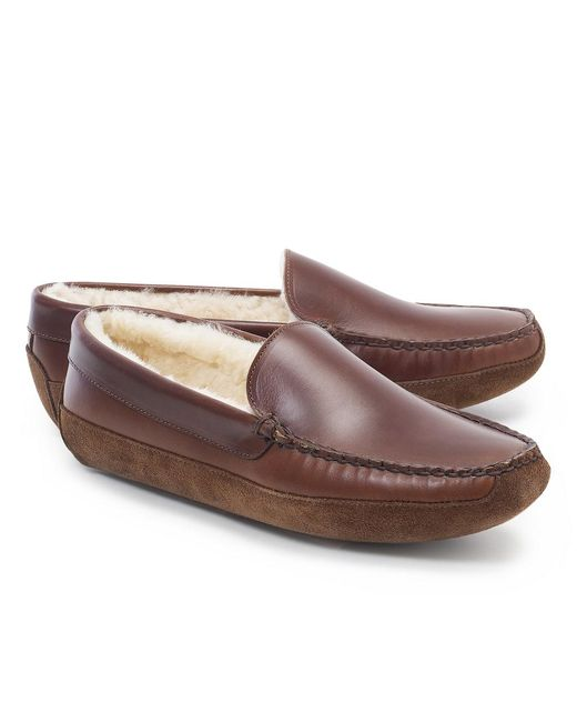 Brooks Brothers - Brown Shearling Slippers for Men - Lyst