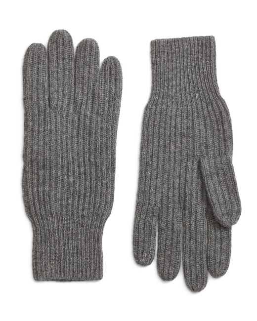 Brooks Brothers - Gray Ribbed Cashmere Gloves for Men - Lyst