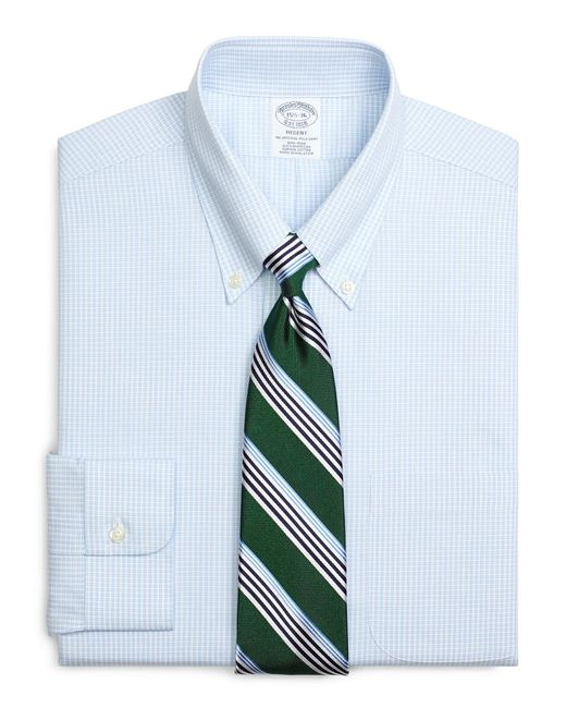 Brooks Brothers - Blue Regent Fitted Dress Shirt, Non-iron Micro Check for Men - Lyst