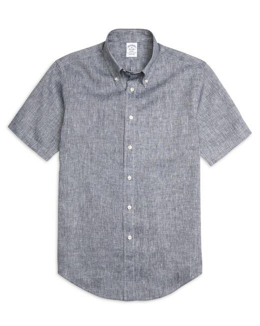 Brooks Brothers - Blue Regent Fit Linen Short-sleeve Sport Shirt for Men - Lyst