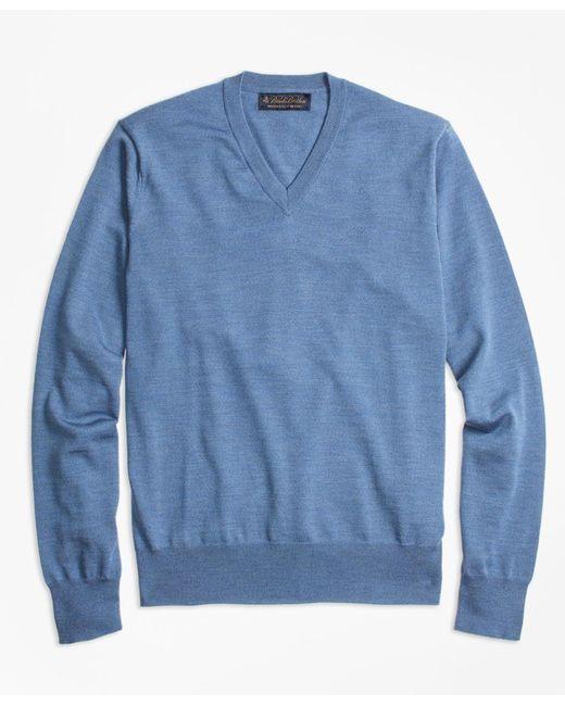 Brooks Brothers | Blue Brookstech Merino Wool V-neck Sweater for Men | Lyst
