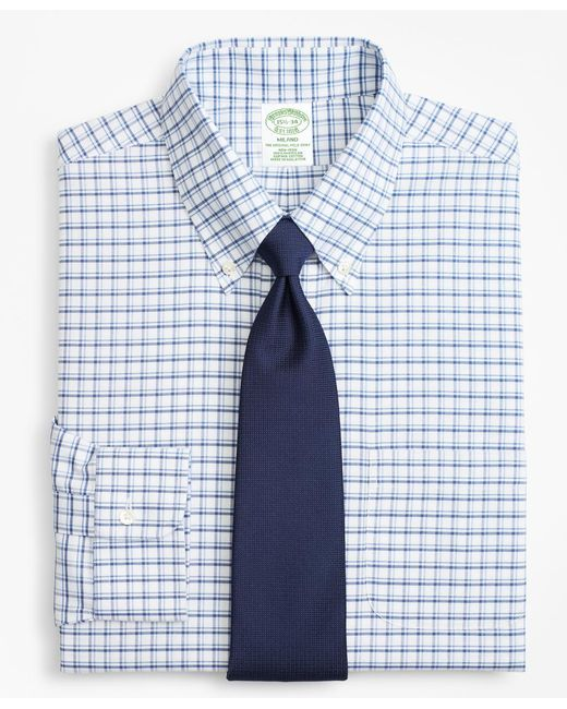 Brooks Brothers - Blue Brookscool® Milano Slim-fit Dress Shirt, Non-iron Sidewheeler Windowpane for Men - Lyst