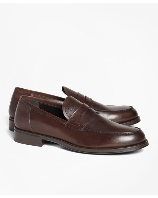 Brooks Brothers - Brown 1818 Footwear Rubber-sole Leather Penny Loafers for Men - Lyst