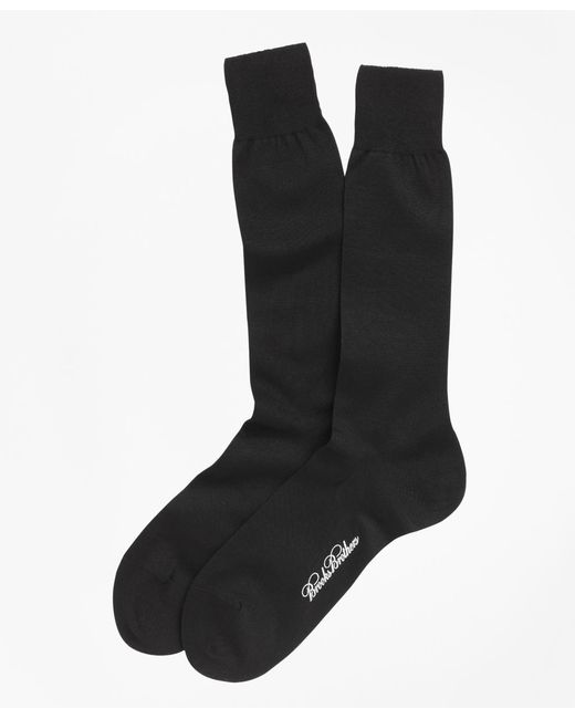 Brooks Brothers | Black Egyptian Cotton Jersey Knit Crew Socks for Men | Lyst
