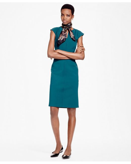 Brooks Brothers | Blue Ponte Knit Sheath Dress | Lyst