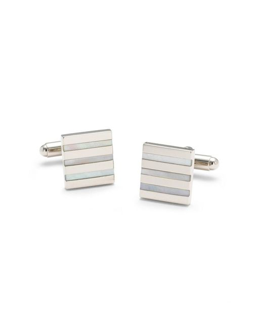 Brooks Brothers - Blue Square Mother-of-pearl Stripe Cuff Links for Men - Lyst